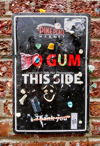 Stock photography from travel to the Gum Wall in the Pike Place Market in Seattle, Washington. (Beth Hall)