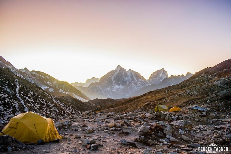 Island Peak base camp at dusk, looking back towards Chhukhung and Tabuche Peak (6367m) and Cholatse (6335m). (Reuben Tabner/© Reuben Tabner)