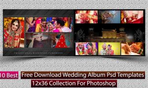 10 Best Free Download Wedding Album Psd Templates 12x36 Collection For Photoshop