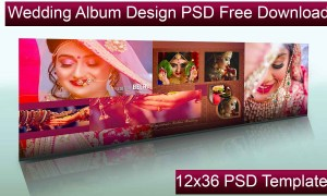 Wedding Album Design PSD Free Download, 12x36 PSD Templates