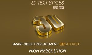 3D Text Styles Dark Gold PSD Free Download
