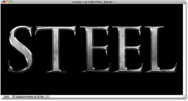 Photoshop steel text effect. Image © 2010 Photoshop Essentials.com.
