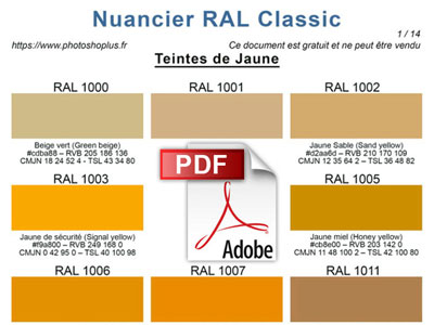 Nuancier Ral Classic En Pdf Photoshoplus