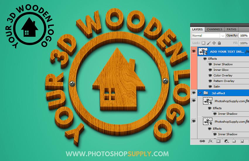 3D Wood Logo Mockup PSD Free