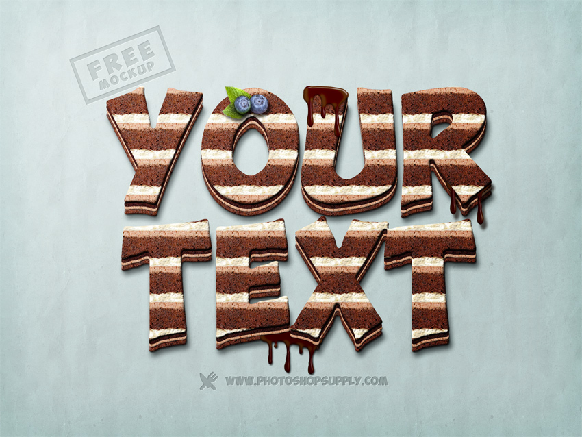 Chocolate Cake Photoshop Text Mockup