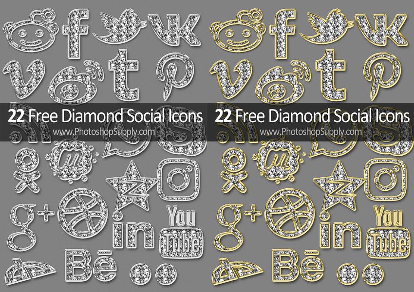 Free Social Media Icons Diamond Style