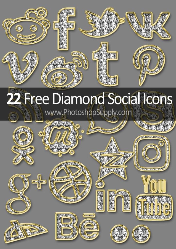 Gold Diamond Social Icons Free