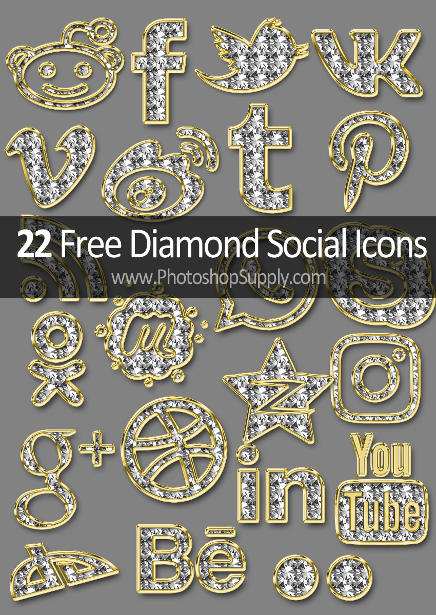 Diamond Social Media Icons Free Download - Photoshop Supply