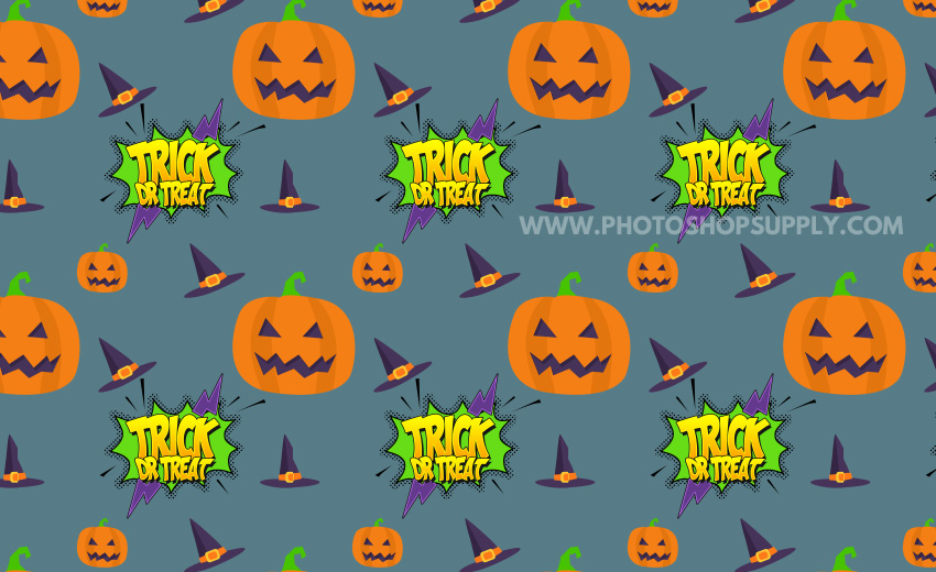 Halloween Text Pattern with Pumpkins