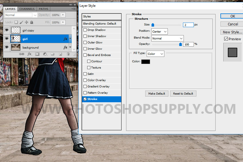 add an outline in photoshop