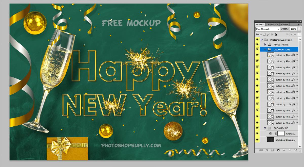 Happy New Year Card Mockup