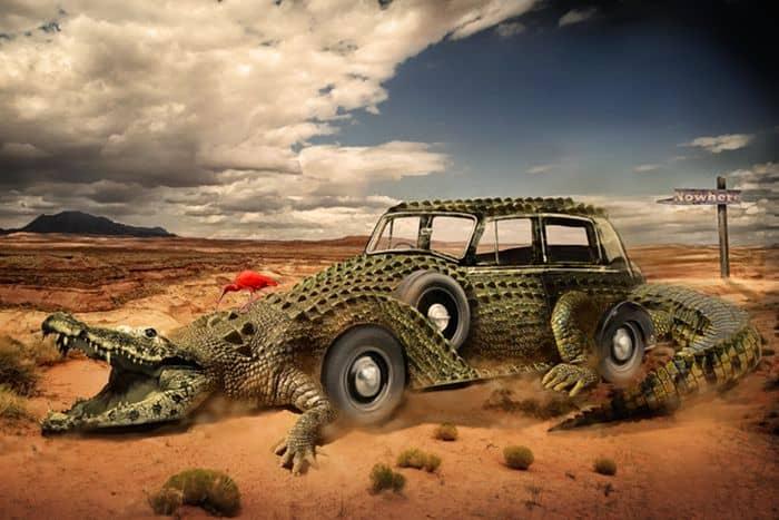 Объединяем крокодила с автомобилем в Фотошопе