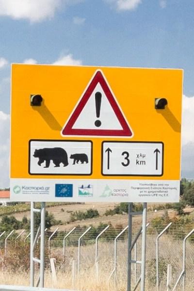 Prespa Una Grecia non convenzionale  Egnatia Odos Motorway Bear Crossing warning Greece
