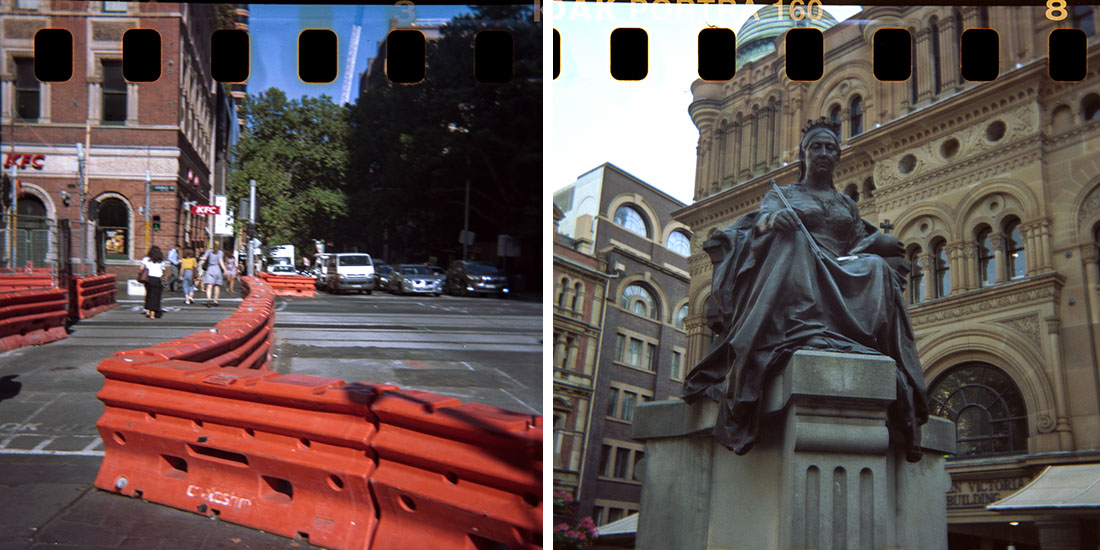 City barriers/Queen Victoria Statue, Kodak Instamatic 133, Kodak Portra 160