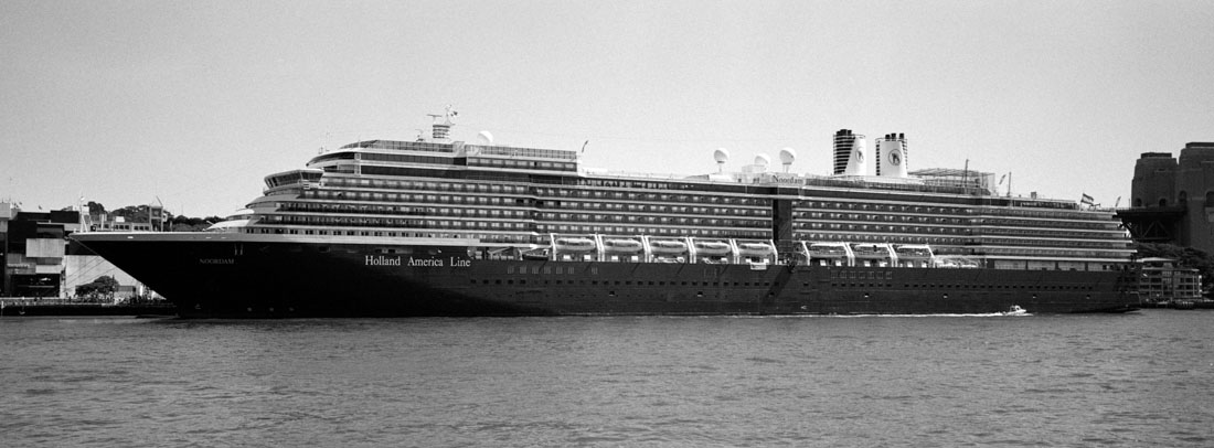 Cruise ship   Hasselblad XPan, 45mm   Kodak Tri-X 400