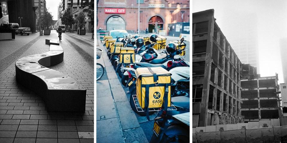 L: Street Furniture | Ilford HP5 Plus @ EI 800 – C: Food delivery | Kodak Ultramax 400 – R: Foggy construction | Ilford HP5 Plus @ EI 800, All: Nikon L35AF
