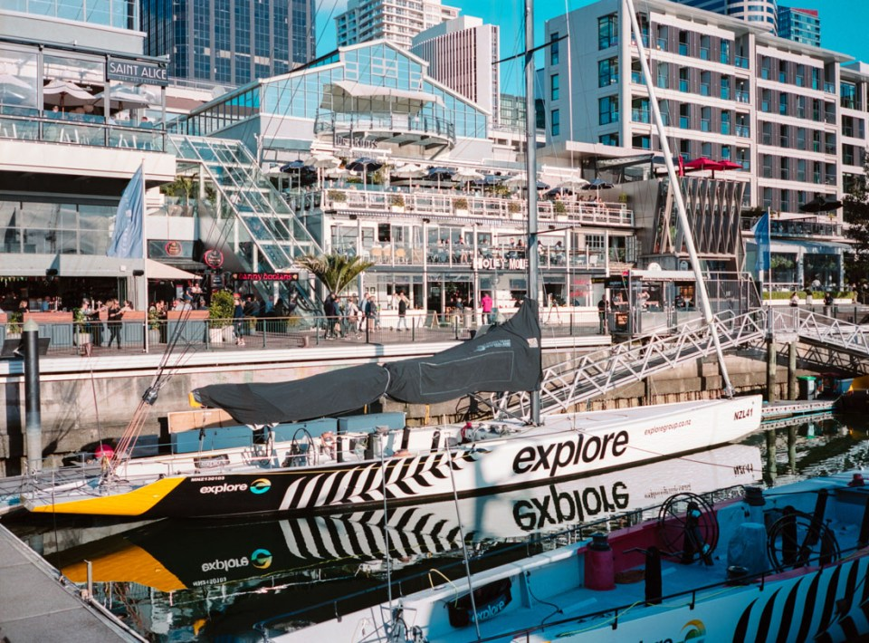 Racing yacht, Viaduct Harbour | Fuji GS645S | Kodak Portra 400