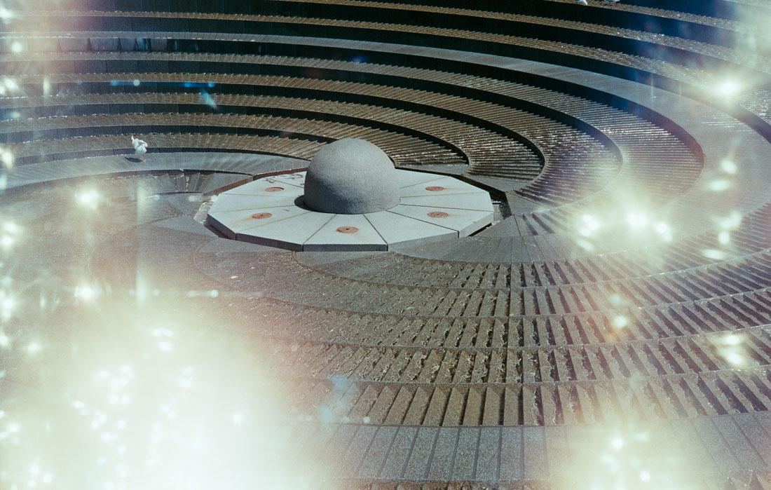 Circular fountain in Darling Harbour   Leica IIIf   Canon 50mm f/2.8 LTM   Fujifilm Industrial 400