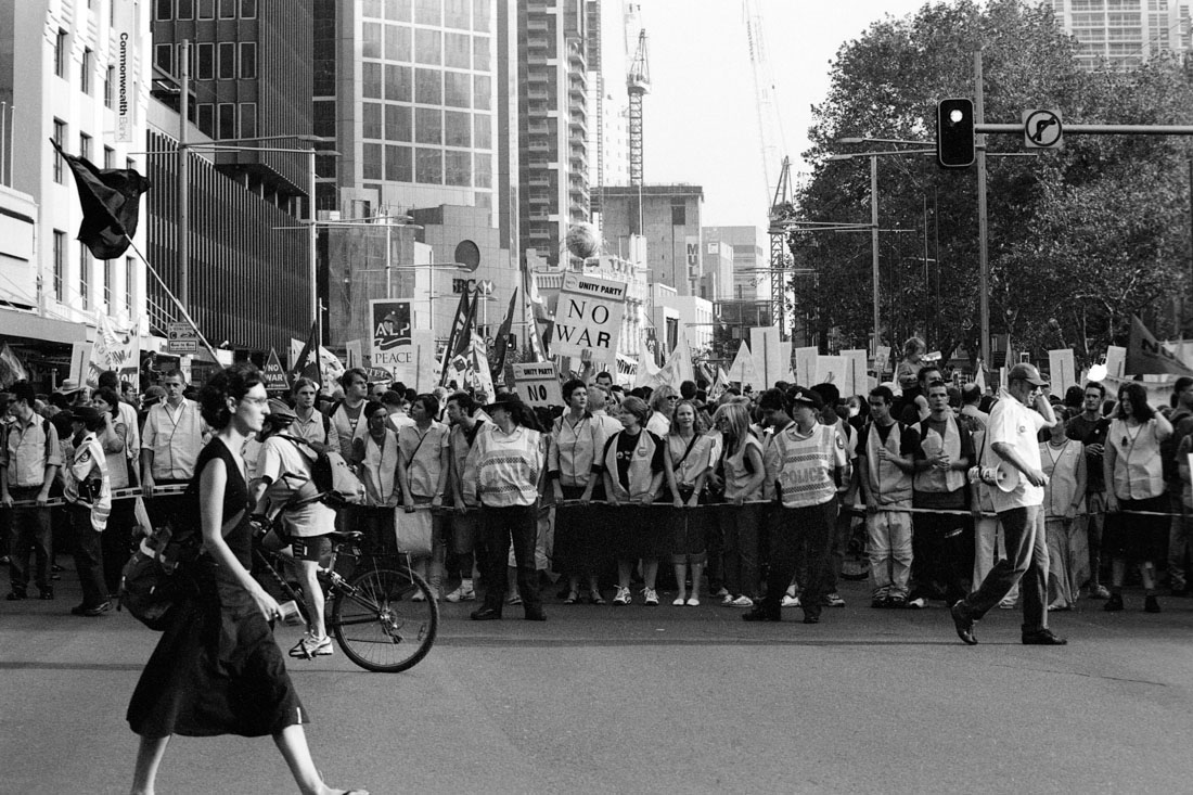 Anti Iraq War protest, Sydney, 2003 | Nikon F5 | Ilford Delta Professional 100