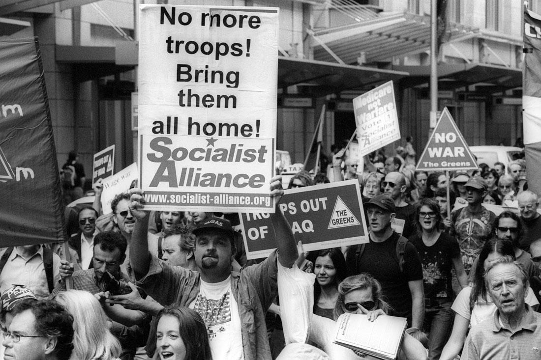 Anti Iraq War protest, Sydney, 2005 | Nikon F5 | Fujifilm Neopan 400