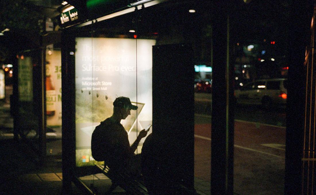 Late night bus stop | Nikon F70 | Nikkor 50mm f/1.8 AF | Fujifilm Natura 1600