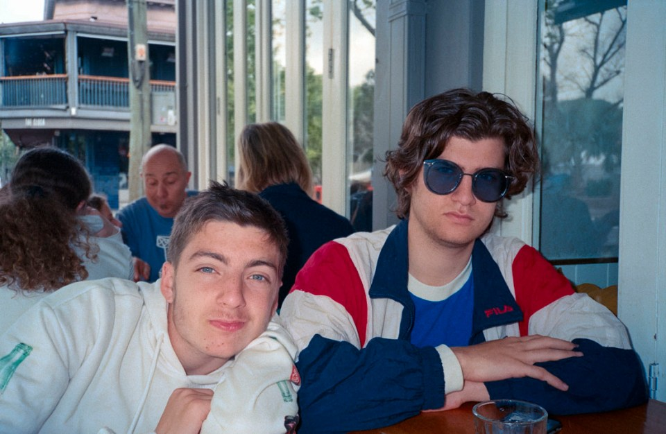 Alec and Matt looking cool at breakfast | Nikon RD2 | Kodak Ultramax 400
