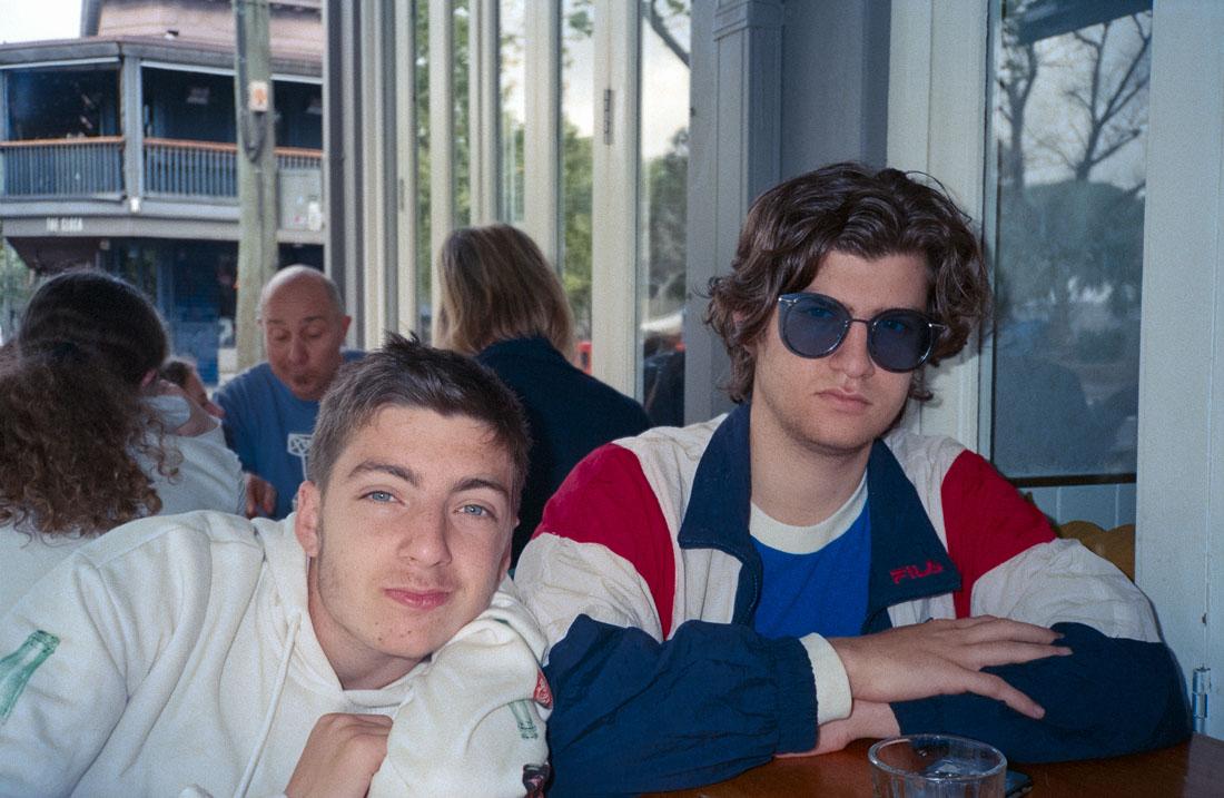 Alec and Matt looking cool at breakfast | Nikon RD2 | Kodak Ultramax 400