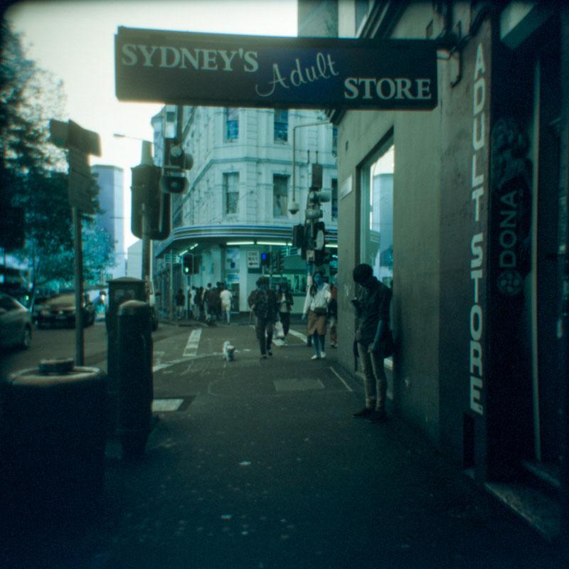 Sydney's Adult Store | Holga 120N | Lomography Lomochrome Turquoise