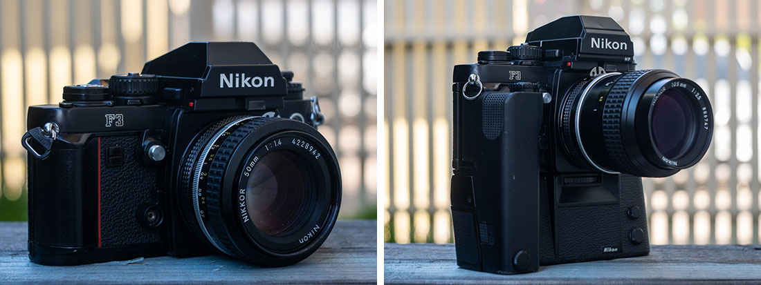 Nikon F3 and Nikon F3HP with motor drive.