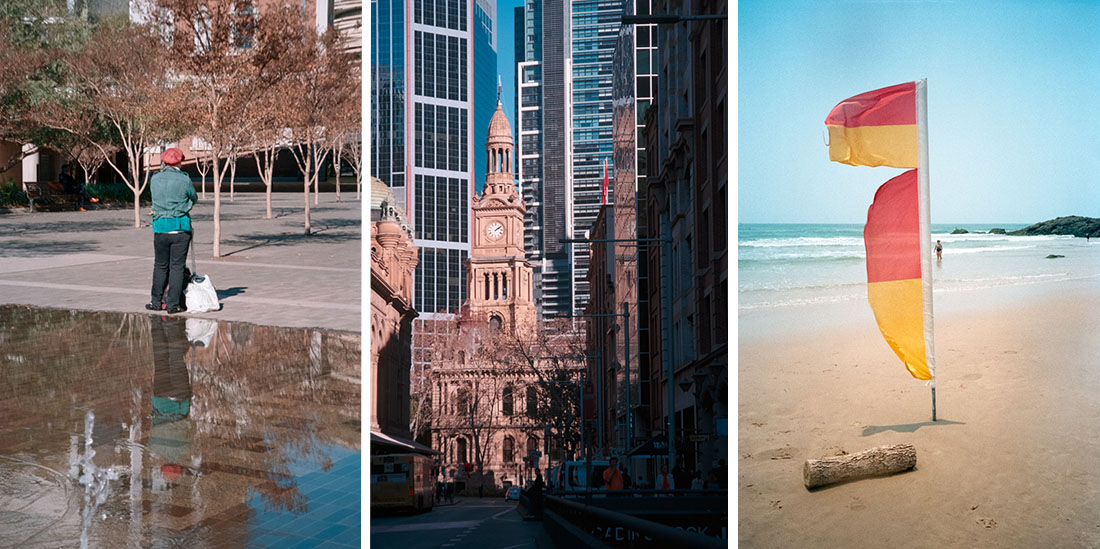 (1) Reflective   Nikon Lite.Touch Zoom 140 ED AF, (2) Sydney City Hall   NIKON Lite.Touch Zoom 140 ED AF, (3) Lifesaver flags   Canon Sure Shot A1, - All taken on Kodak Ultramax 400