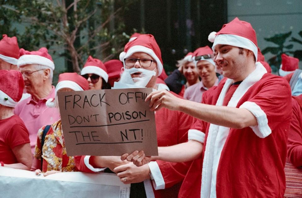 Extinction Rebellion Santa Protest against Northern Territory Fracking, Sydney, 2019 | Nikon F4s | Nikkor 28-105mm f/3.5-4.5 AF D IF | Kodak Portra 400
