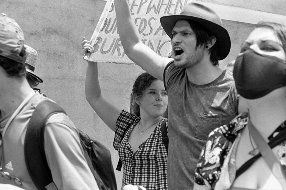 Student Extinction Protest against firefighting cuts, Sydney, 2019 | Nikon F4s | Nikkor 28-105mm f/3.5-4.5 AF D IF | Ilford HP5 Plus