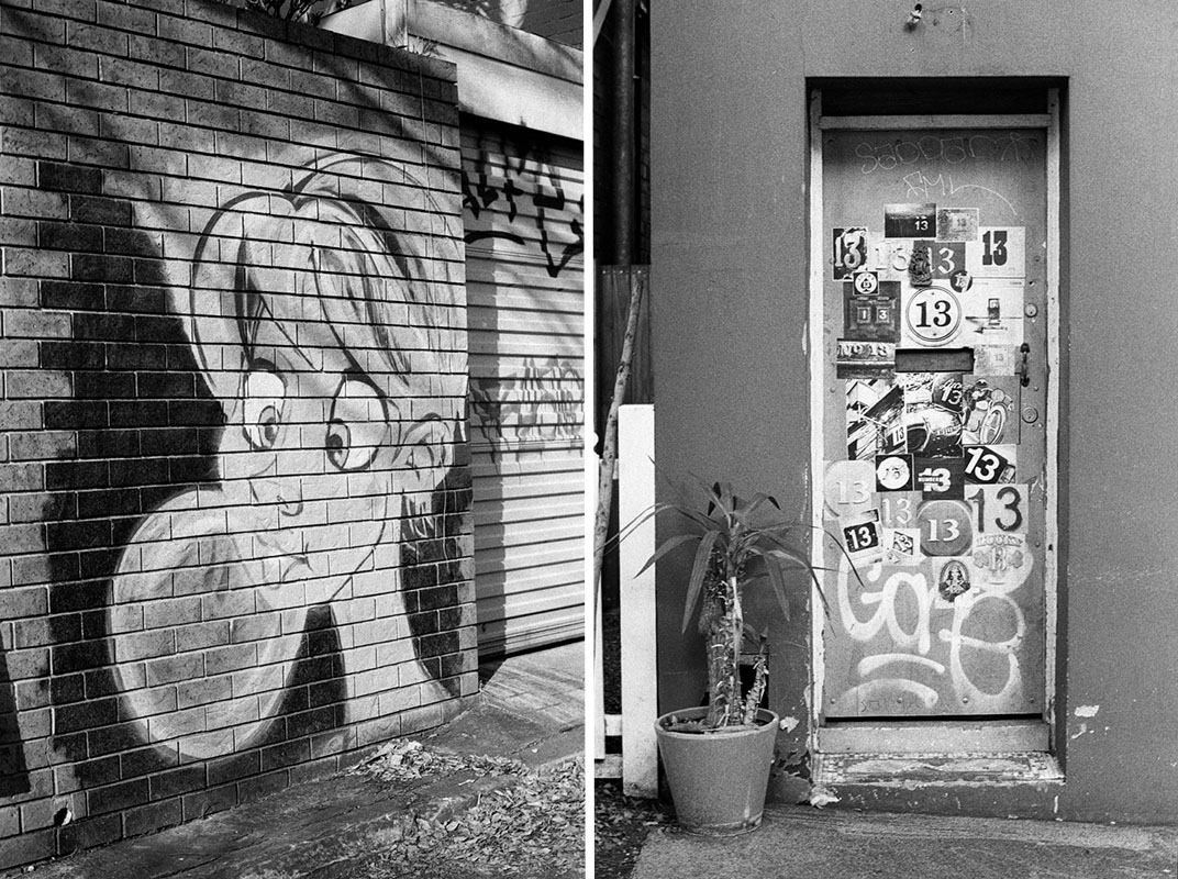 (1) Mural and (2) Number 13 | Topcon RE Super | Topcor 58mm f/1.4 RE Auto | Fujifilm Neopan 400 (Presto)