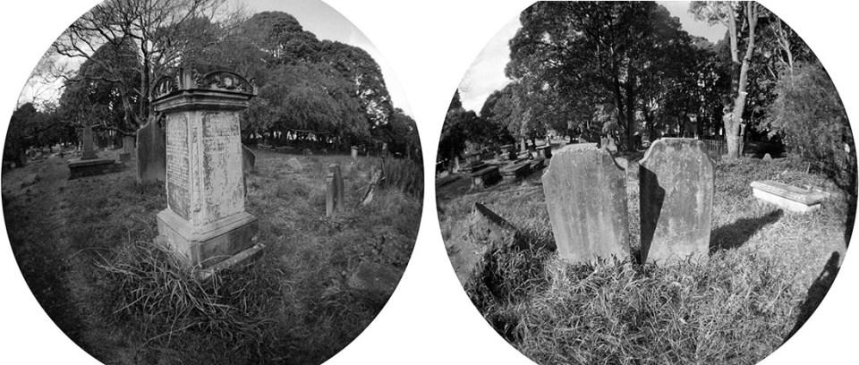 Headstones | Lomography Fisheye 2 | Ilford HP5 Plus