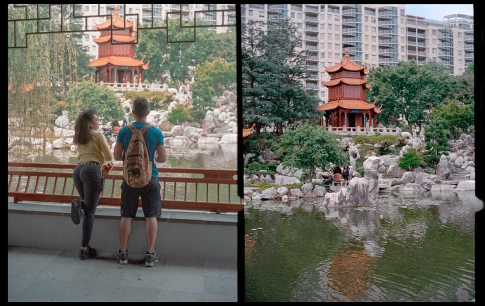 Looking at the temple, diptych | Agfa Optima-Parat | Kodak Portra 400
