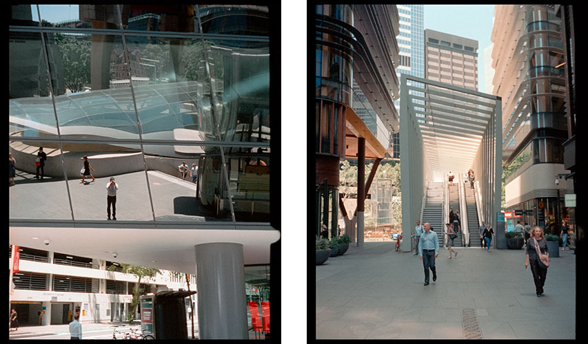 Selfie in a building (l), Sunlit staircase (r) | Agfa Optima-Parat | Kodak Portra 400