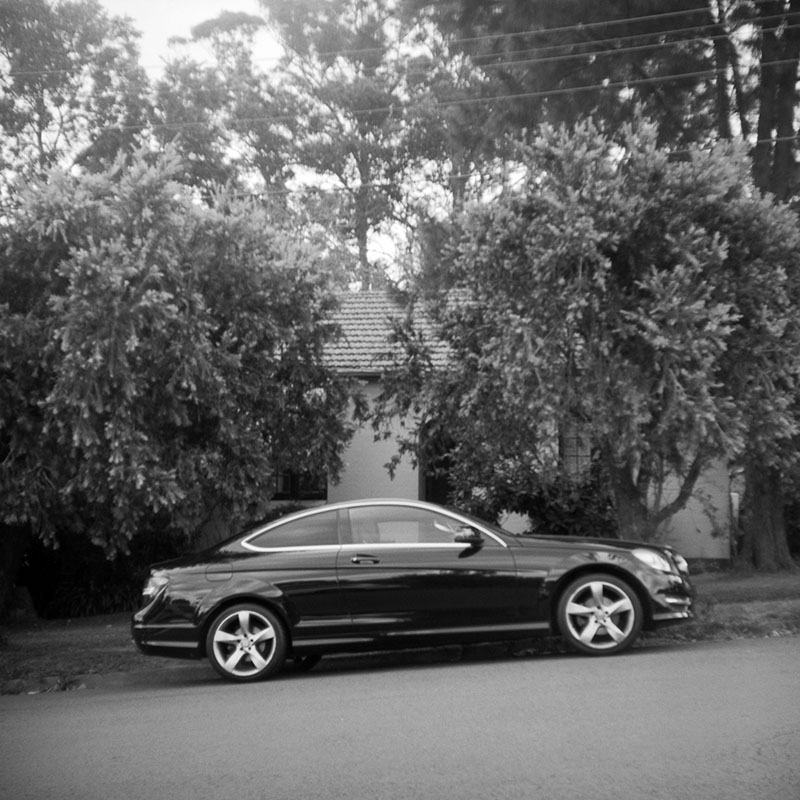 Black car | Bolseyflex | Ilford FP4 Plus