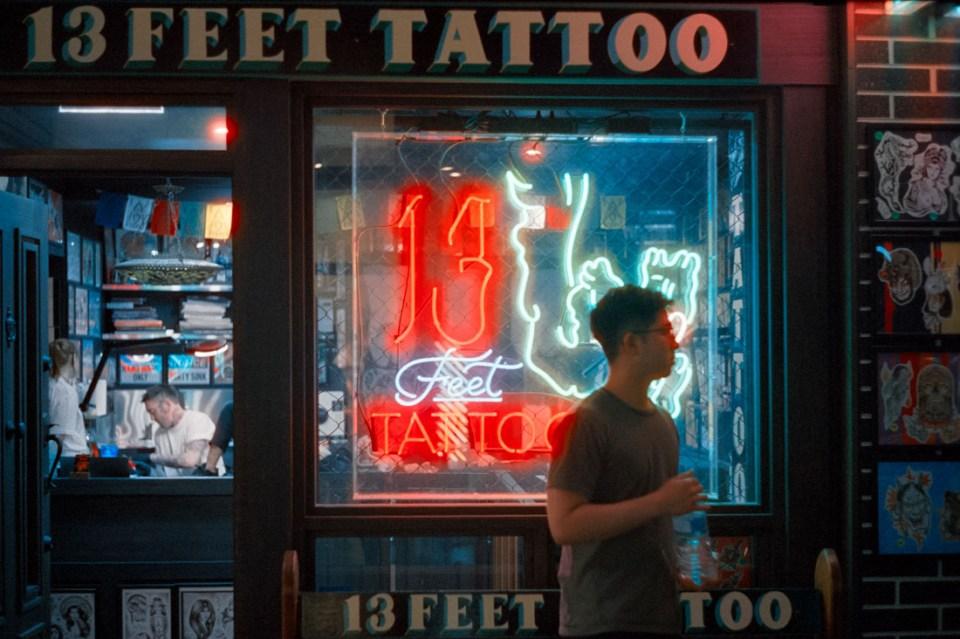 Tattoo parlour | Leica M2 | Canon 50mm f/1.8 Type 1 | Cinestill 800T