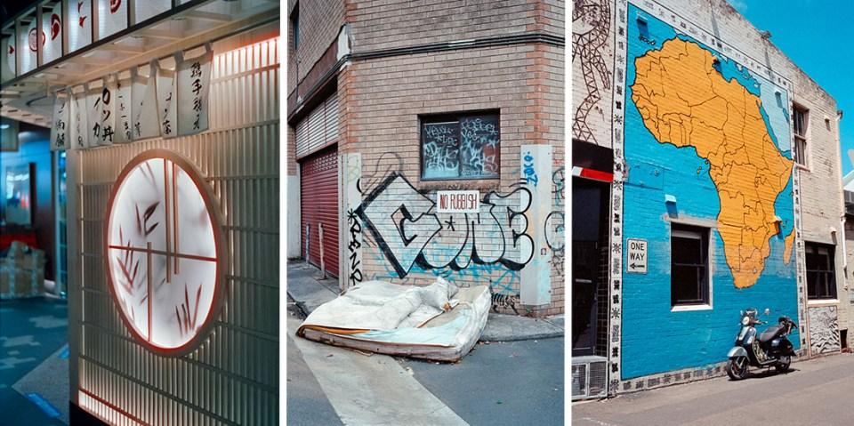 (l) Restaurant window | Leica M2 | Canon 50mm f/1.8 Type 1 | Cinestill 800T (c) No rubbish | Leica M2 | Carl Zeiss Biogon 35mm f/2 | Kodak Portra 400 (r) Africa motorcycle | Leica M2 | Carl Zeiss Biogon 35mm f/2 | Kodak Portra 400