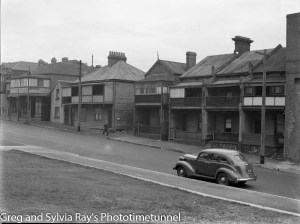 Pacific Street Newcastle, before the area was altered by the development of Royal Newcastle Hospital.