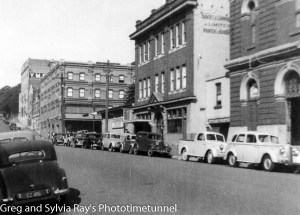King Street, Newcastle, looking east towards the Perkin Street intersection. Circa 1950.