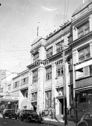 Newcastle Herald building, Bolton Street, Newcastle, NSW, at the end of World War 2, August 15, 1945.