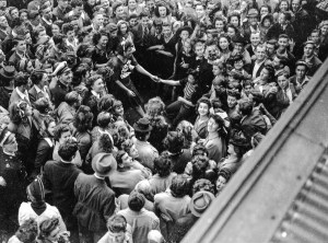 Phyllis Mook and Flo Dillon jitterbugging in Newcastle, NSW, at the end of World War 2, August 15, 1945.