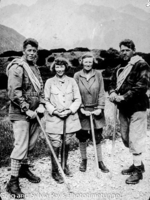 Australian expeditioners Marjorie Edgar Jones (left) and Marie Byles with New Zealand alpine guides Harry Ayres (left) and Frank Alack in 1935.