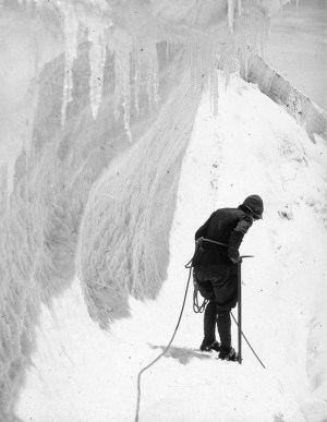 Australian lawyer Marie Byles' expedition to the New Zealand alpine country in 1935. Ice and snow.