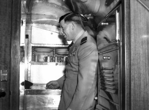 Inside the cabin of the Commonwealth Bank's Douglas DC-3 aircraft, VH-CBA at Williamtown Airport, near Newcastle NSW, on September 17, 1947. (3)