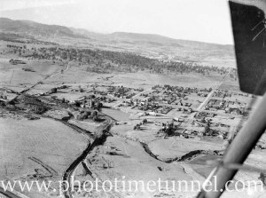 Aerial view of Greta and Whitburn Colliery, NSW, circa 1940s.