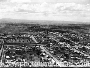 Aerial view of a portion of East Maitland, NSW, circa 1940s.