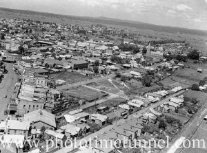 Aerial view of Maitland, NSW, circa 1940s. (1)