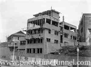 Multi-storey flats under construction in Newcastle East, circa 1930s.
